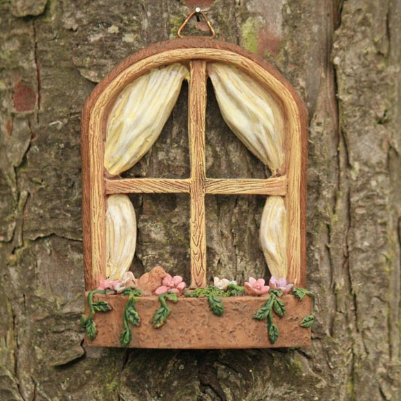 Fairy window tree hanging window fairy garden accessory for Large house windows for sale