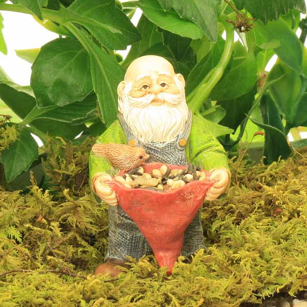 Real Gnomes: Standing Gnome Feeding The Birds, Hat With Real Birdseed