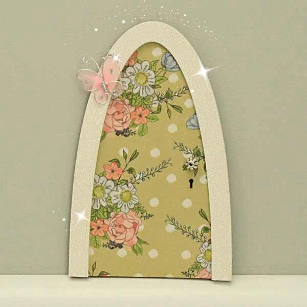 Vintage flower indoor fairy door green polka dot design for Fairy doors for sale