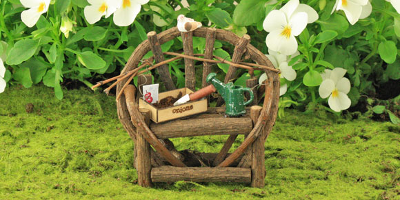 Twig Bench Gardening Collection, Fairy Garden Accessory