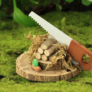 Woodpile & Saw, Real Mini Logs, Saw and Snail