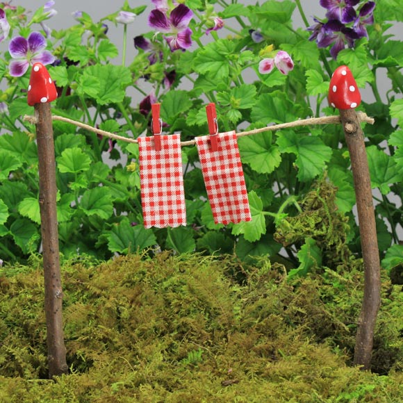 Twig Clothes Line - Red - Fairy Garden Accessory