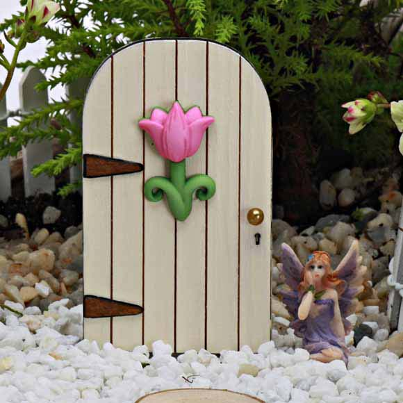 Mini Fairy Door with Pink Flower - Fairy Garden Accessory