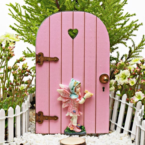 Sweetheart Fairy Door with Fairy - Fairy Garden Accessory