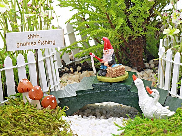 Gnomes Fishing Collection, Fairy Garden Accessory by Jennifer
