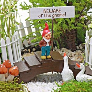 'Beware of The Gnome' Collection Fairy Garden Accessory