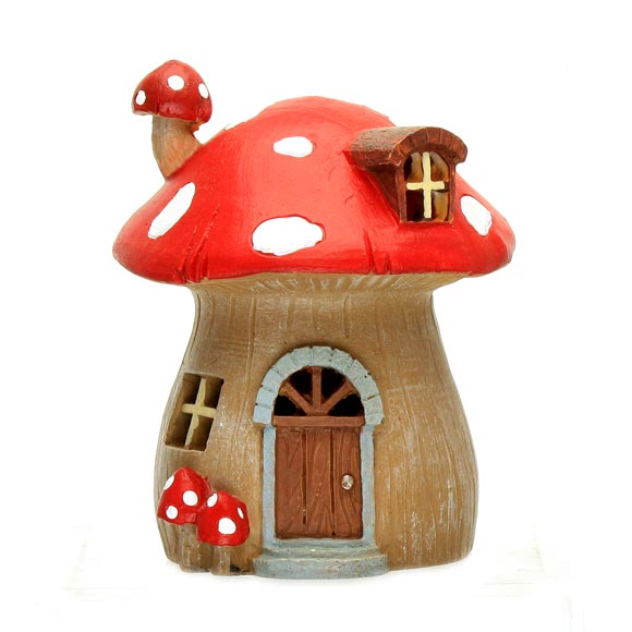 Mushroom Fairy Cottage with LED Light, Fairy Garden Accessory
