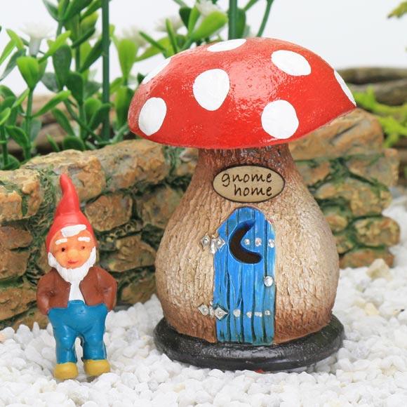 Tiny Mushroom Gnome Home & Gnome