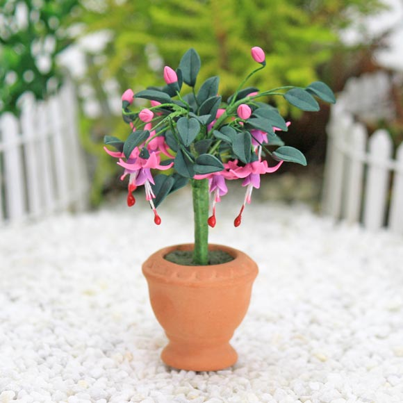 Fuchsia Plant & Pot, Fairy Garden Accessory by Jennifer