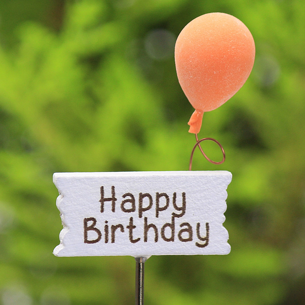 """Happy Birthday"" Miniature Sign & Balloon, Fairy Garden Accessory"