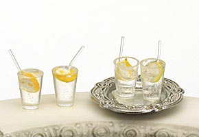 Lemonade Glasses & Silver Tray, Fairy Garden Accessory