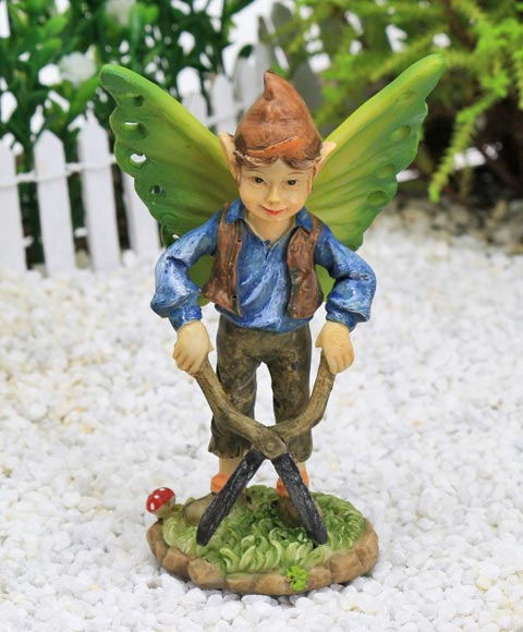Gardening Elf Figure, Fairy Garden Accessory by Jennifer