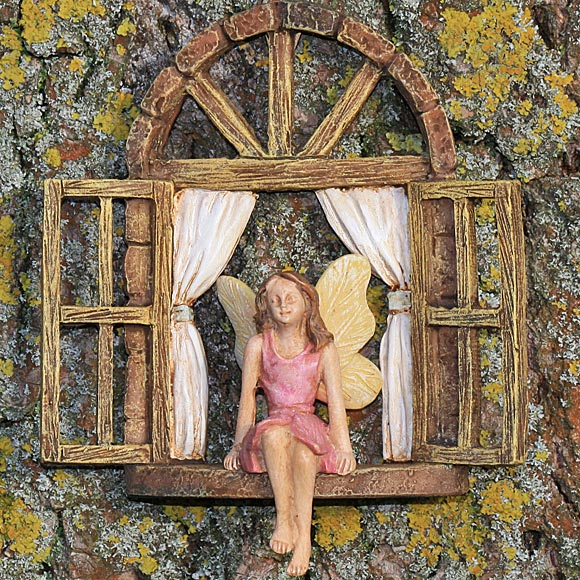 Fairy Window with Sitting Fairy, Tree Hanging Window,