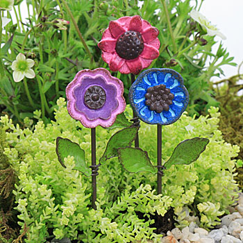 Button Head Style Flower Pick - Fairy Garden Accessory