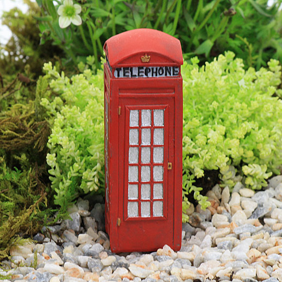 Red Telephone Box - Traditional Telephone Box - Fairy Garden Accessory