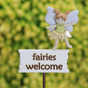 Fairies Welcome Sign & Fairy , Fairy Garden Sign - Handmade by Jennifer