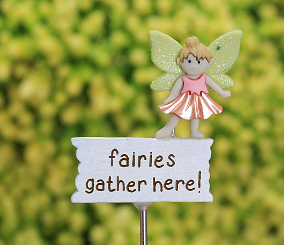Fairies Gather Here Sign - Fairy Garden Accessory - Handmade by Jennifer