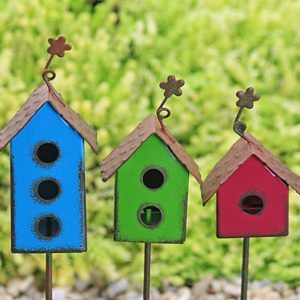 Birdhouse - Aged Metal - Fuchsia - Lime - Blue
