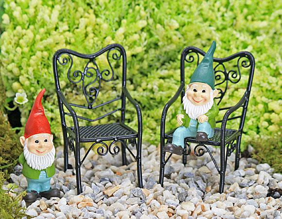 Black Wire Garden Chairs, Fairy Garden Accessory by Jennifer
