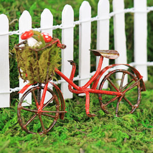 Red Bike with Mushrooms