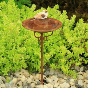 Rusty Bird Bath with Bird