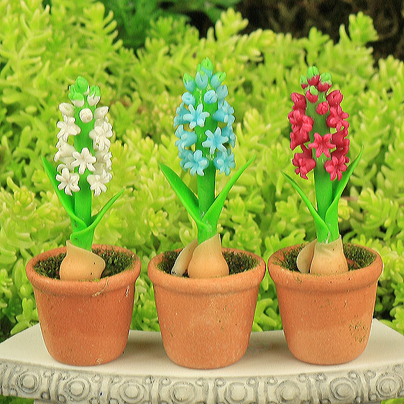 Hyacinth pots three colours fairy garden accessory handmade - Planting hyacinths pots ...