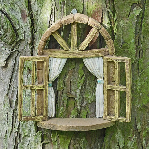 Fairy window tree hanging window fairy garden accessory for Fairy house doors