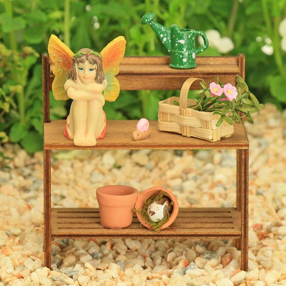 Garden Potting Bench with Fairy