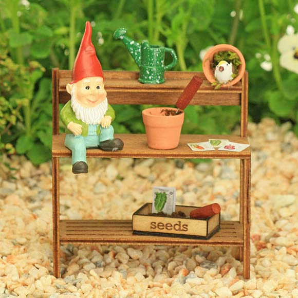 Garden Potting Bench with Little Gnome