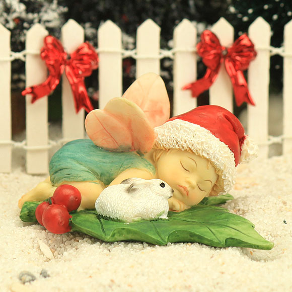 Christmas Fairy Baby Asleep with Bunny