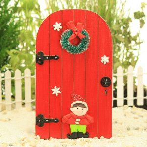 Red Elf Door with Wreath