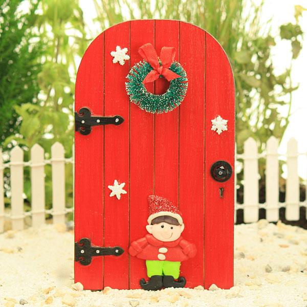Red elf door christmas fairy door wreath merry for Red elf door
