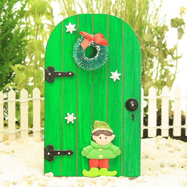 Green elf door christmas fairy door wreath merry for Fairy doors for sale