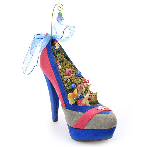 Fairy garden shoe pink and blue