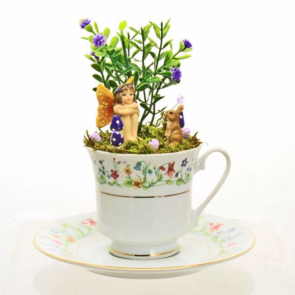 vintage summer flower teacup fairy garden sitting fairy bunny flowers. Black Bedroom Furniture Sets. Home Design Ideas