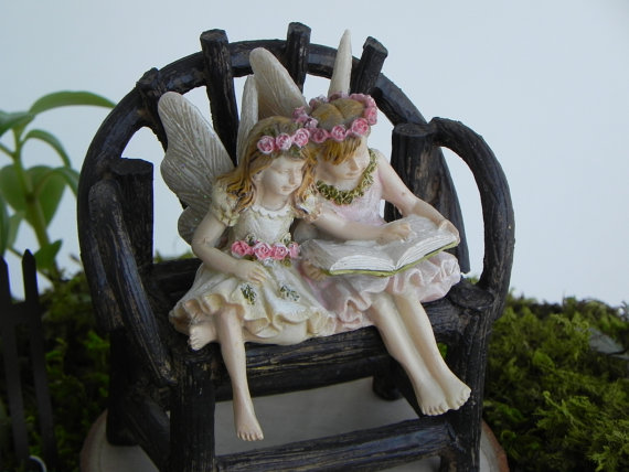 Fairies Paige And Phoebe Sitting Fairies Reading Book