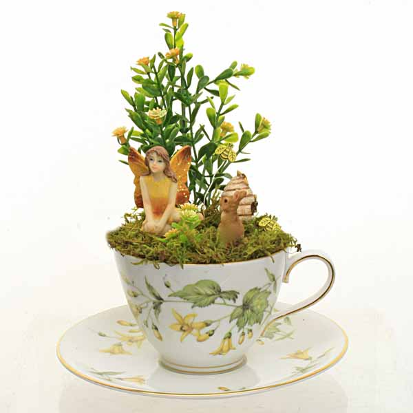 Vintage Yellow Forsythia Teacup Fairy Garden