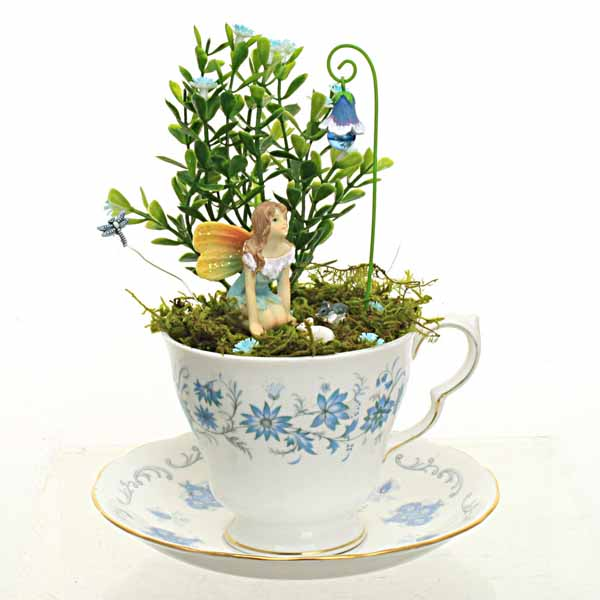 Vintage Blue Flower Teacup Garden