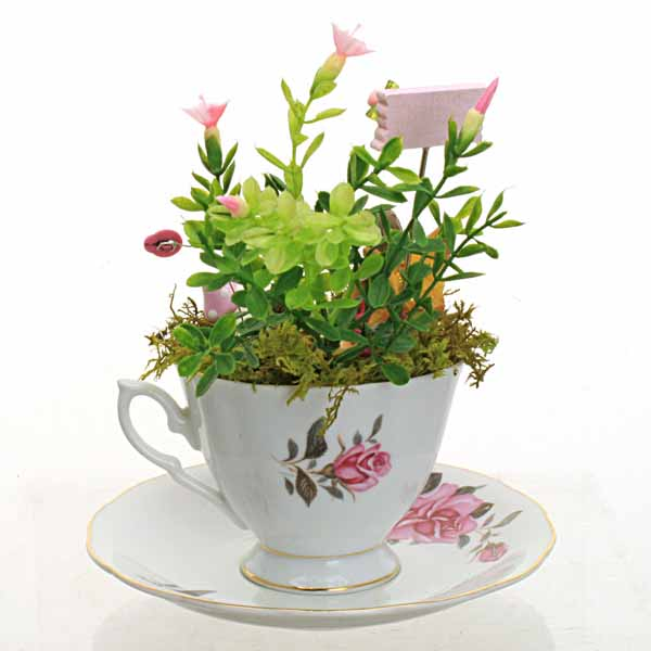 Happy Mother's Day Vintage Teacup Fairy Garden
