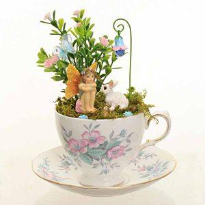 Pale Pink & Blue Vintage Teacup Garden