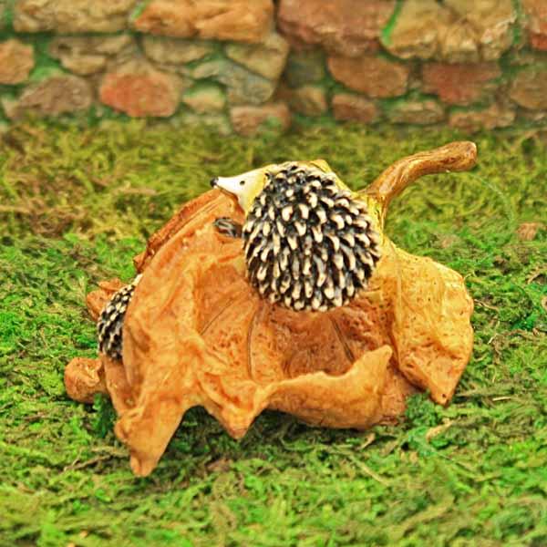 Hedgehogs and Oak Leaf