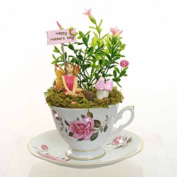 happy mother 39 s day vintage teacup fairy garden fairy handmade. Black Bedroom Furniture Sets. Home Design Ideas