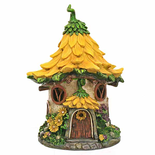 Solar Lit Fairy House With Yellow Flower Roof Fairy