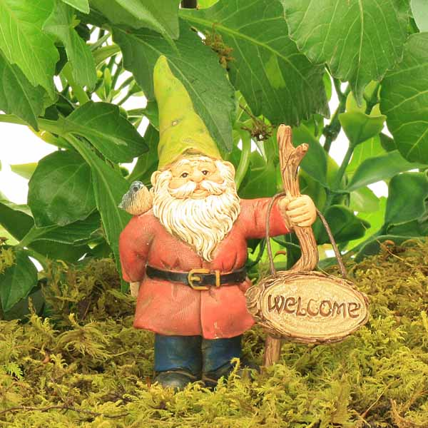 Standing Gnome with Welcome Sign