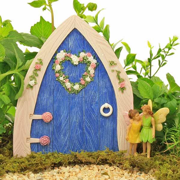 Large resin pointed fairy door rosebud heart wreath blue for Fairy doors for sale