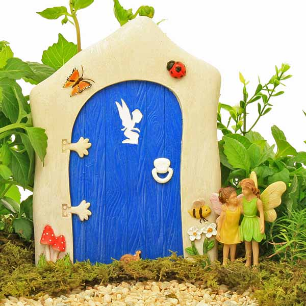 Large blue fairy door fairy detail butterfly ladybird for Large gnome doors