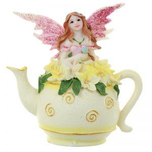 Pink Flower Fairy in Tea Pot