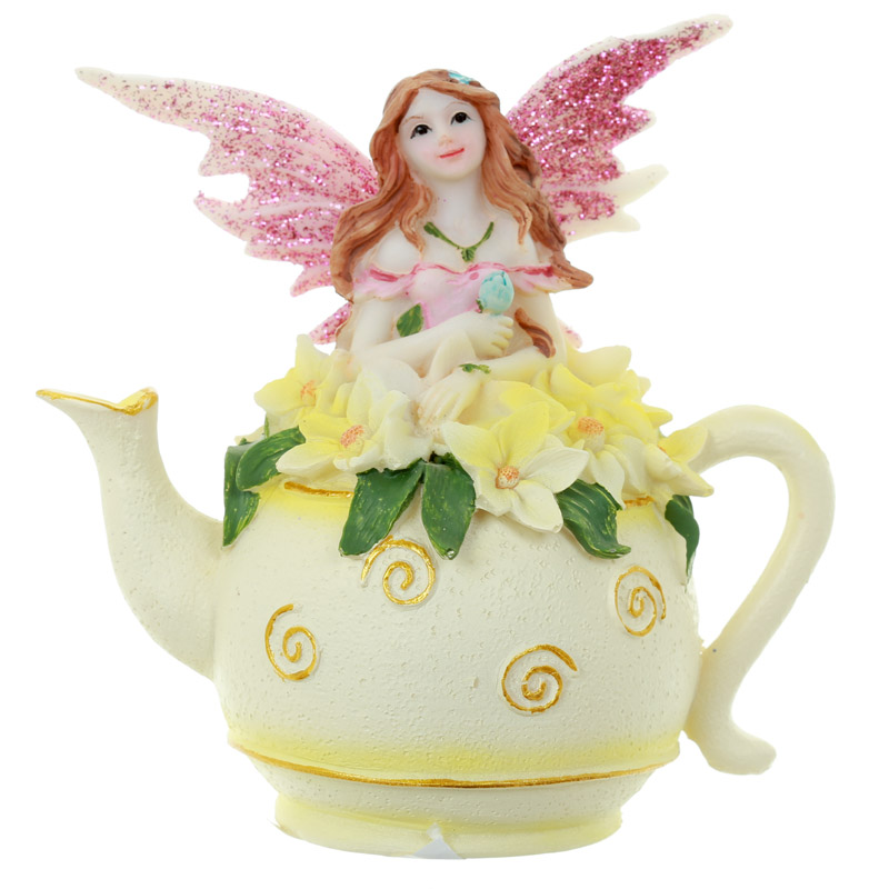 Pink Flower Fairy in Tea Pot