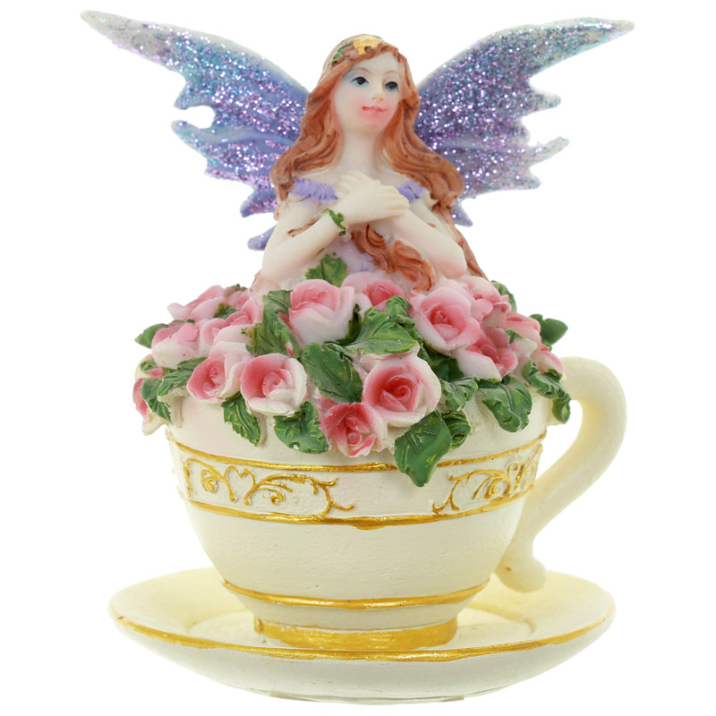 Lilac Flower Fairy in Teacup
