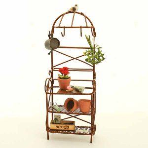 metal potting bench with flowers